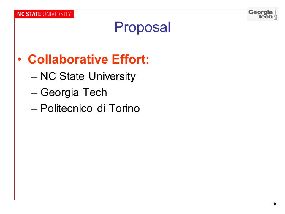 Proposal Collaborative Effort: NC State University Georgia Tech