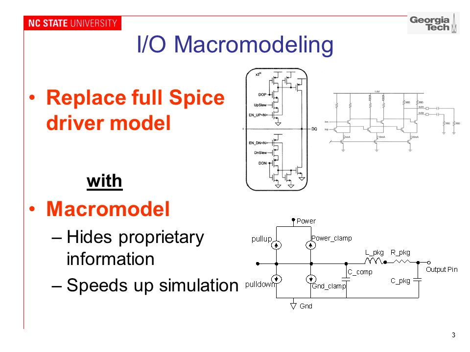 I/O Macromodeling Replace full Spice driver model Macromodel with