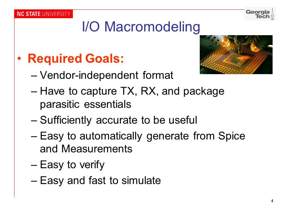I/O Macromodeling Required Goals: Vendor-independent format
