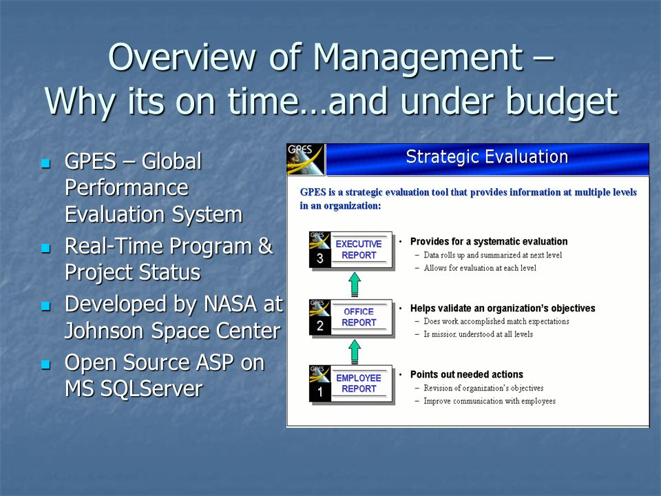 Overview of Management – Why its on time…and under budget