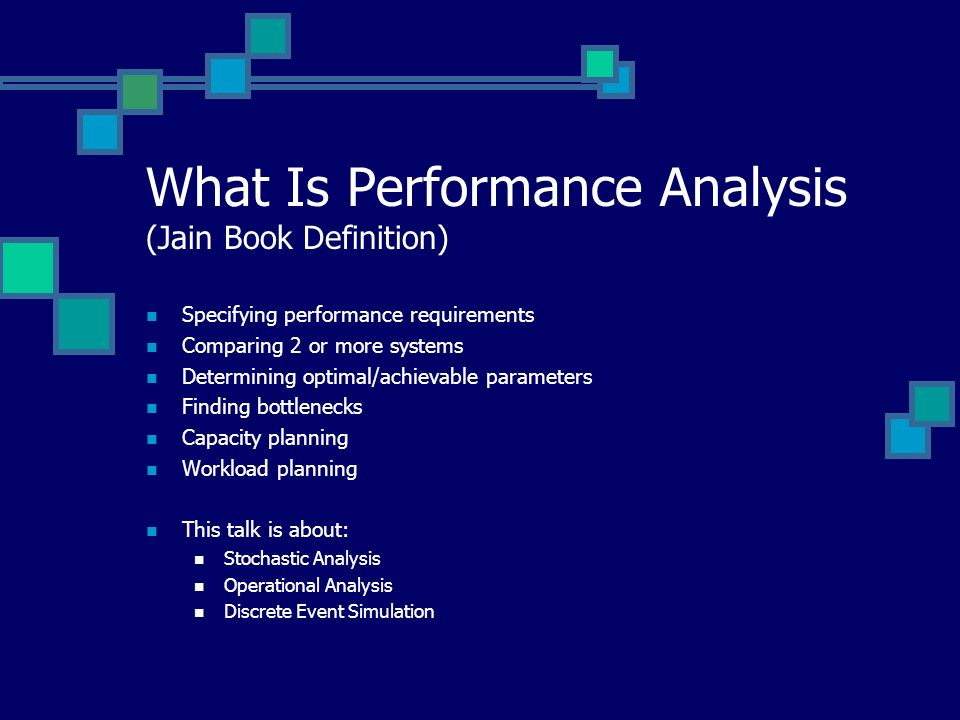 What Is Performance Analysis (Jain Book Definition)
