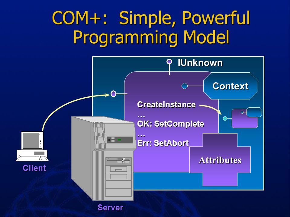 COM+: Simple, Powerful Programming Model