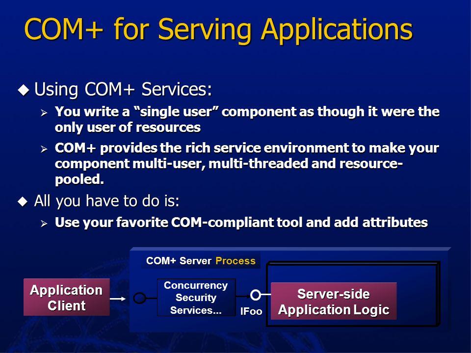 COM+ for Serving Applications