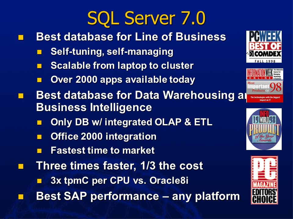 SQL Server 7.0 Best database for Line of Business