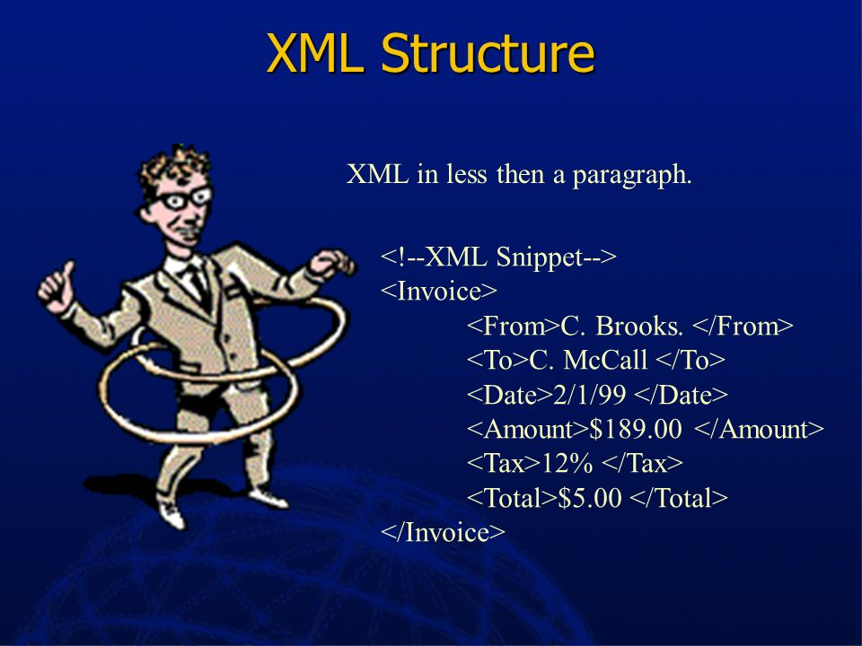 XML Structure XML in less then a paragraph. <!--XML Snippet-->