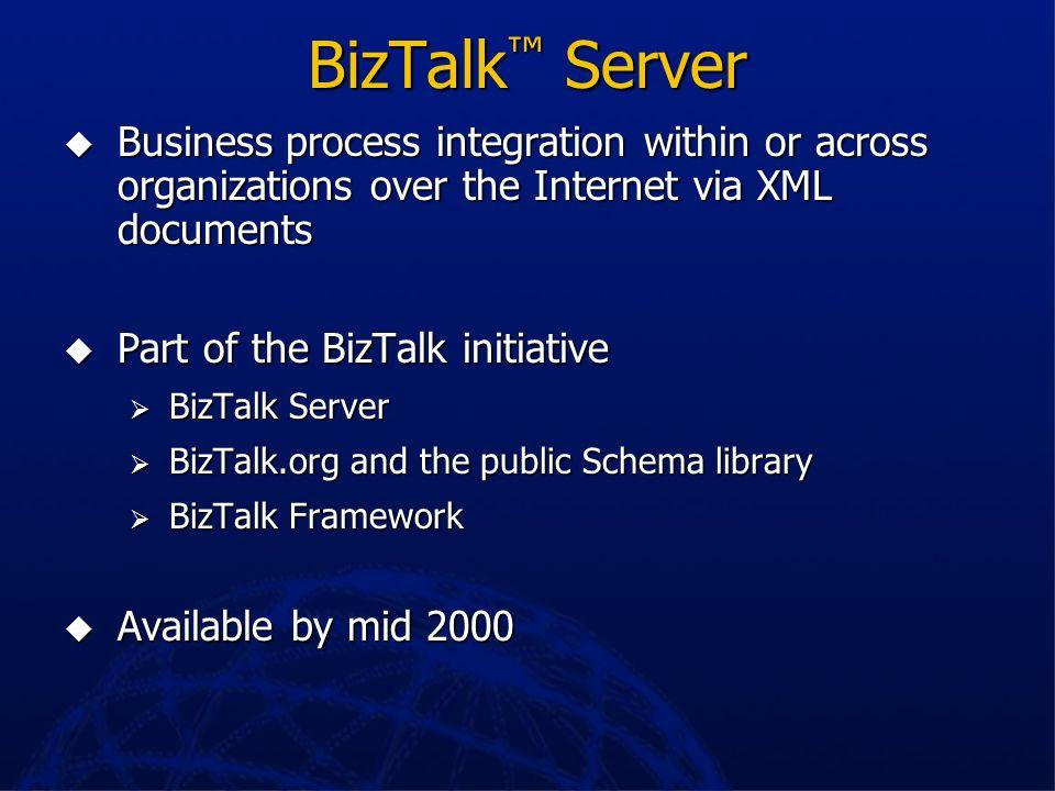 BizTalk™ ServerBusiness process integration within or across organizations over the Internet via XML documents.