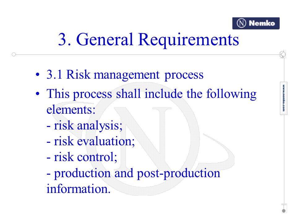 3. General Requirements 3.1 Risk management process