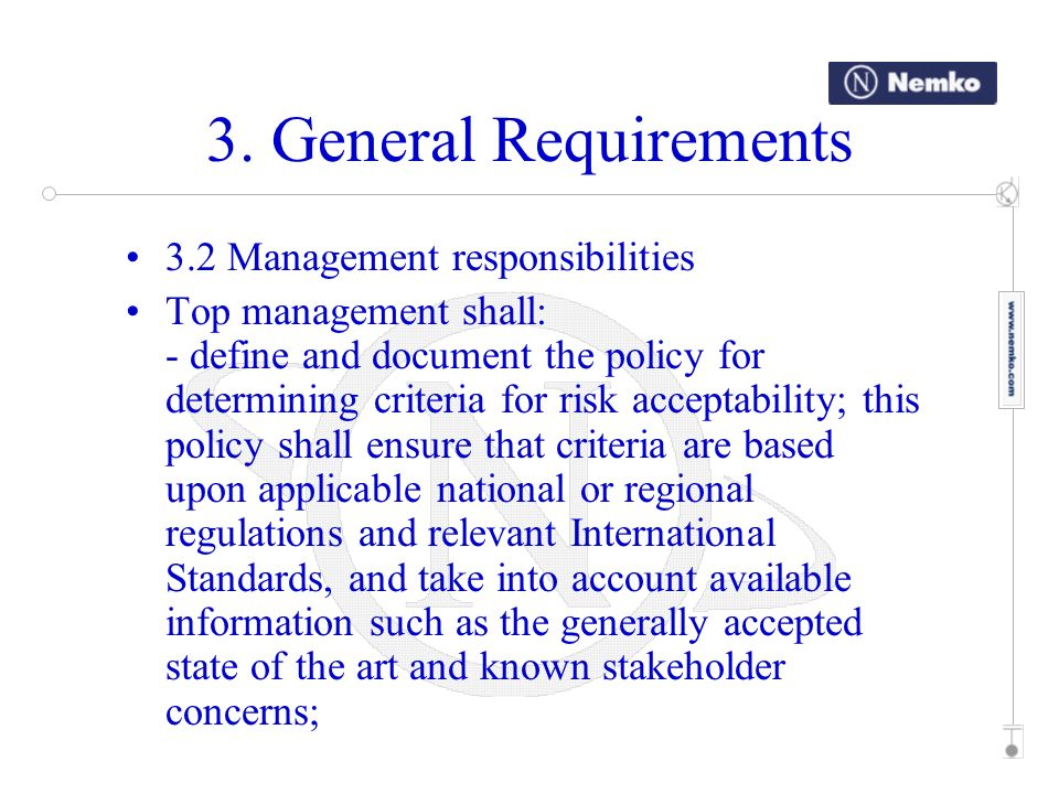 3. General Requirements 3.2 Management responsibilities