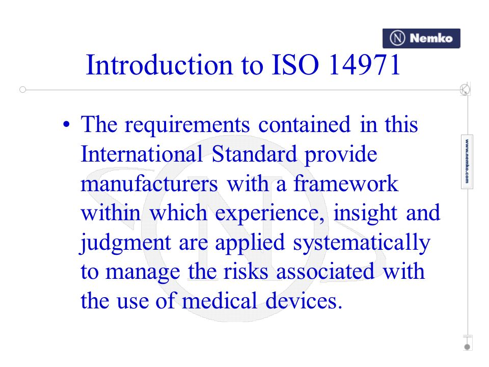 Introduction to ISO 14971