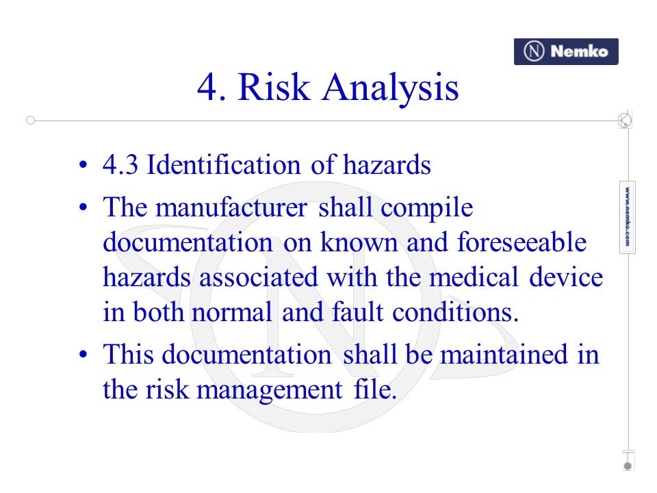 4. Risk Analysis 4.3 Identification of hazards
