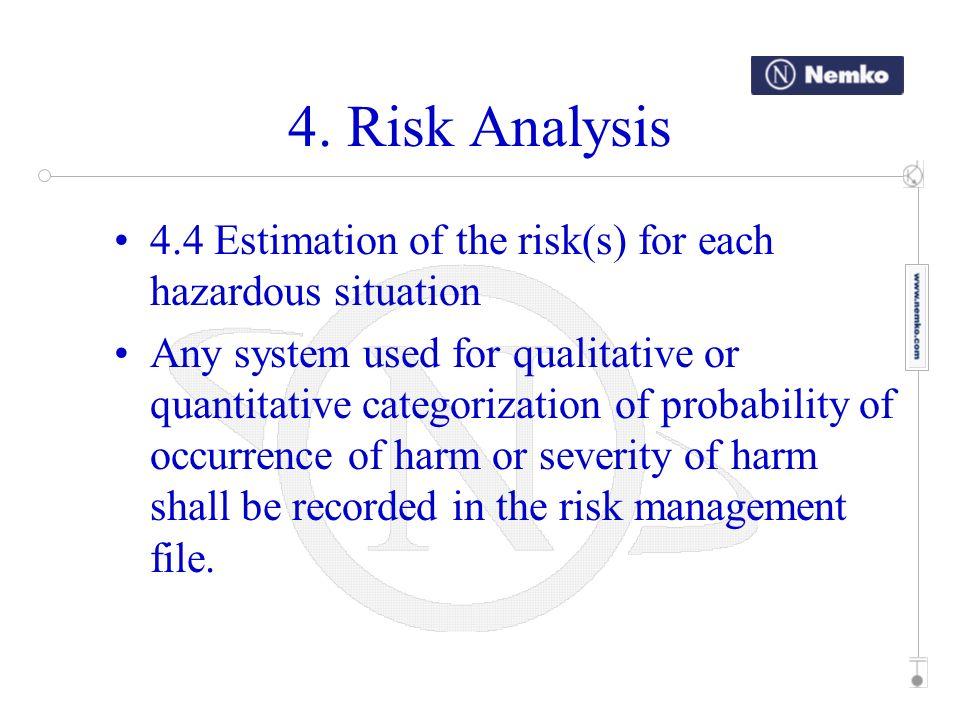4. Risk Analysis 4.4 Estimation of the risk(s) for each hazardous situation.