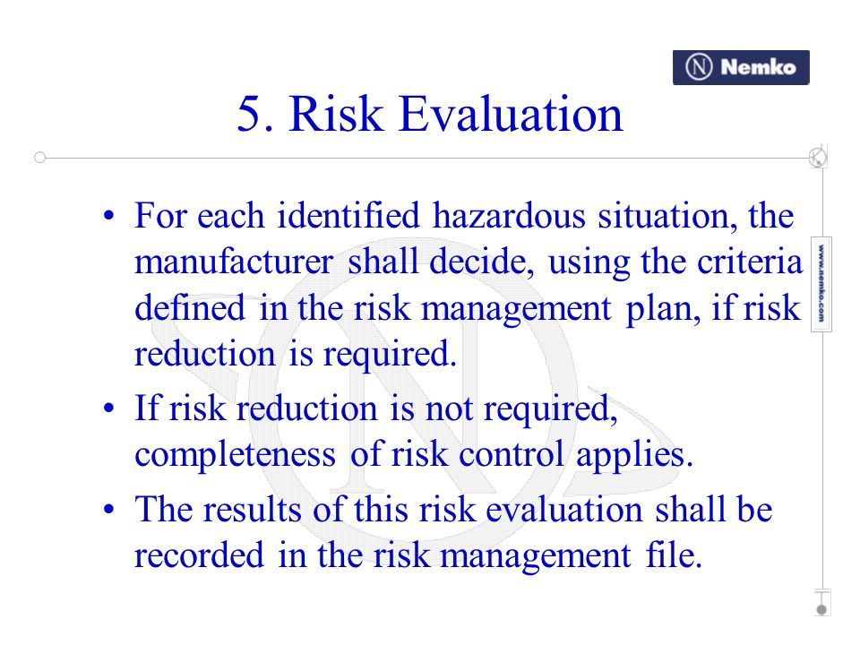 5. Risk Evaluation