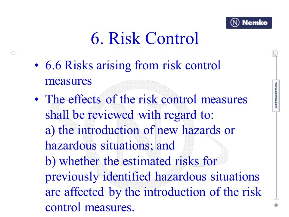 6. Risk Control 6.6 Risks arising from risk control measures