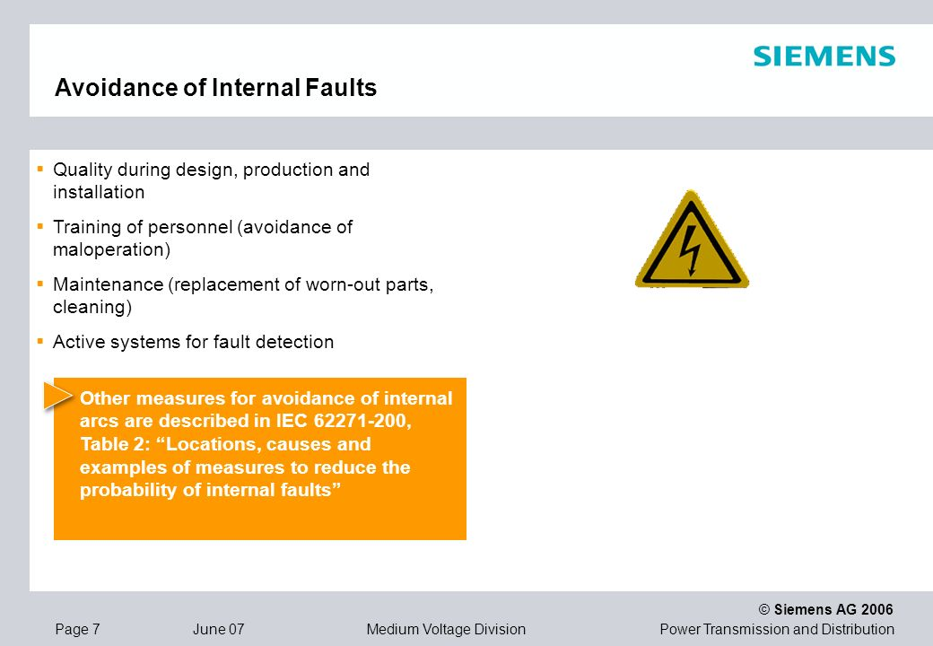 Avoidance of Internal Faults