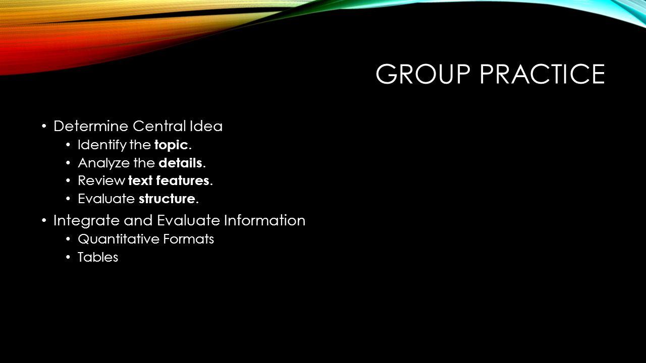 Group practice Determine Central Idea
