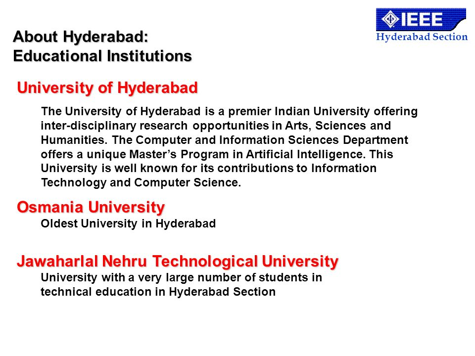About Hyderabad: Educational Institutions