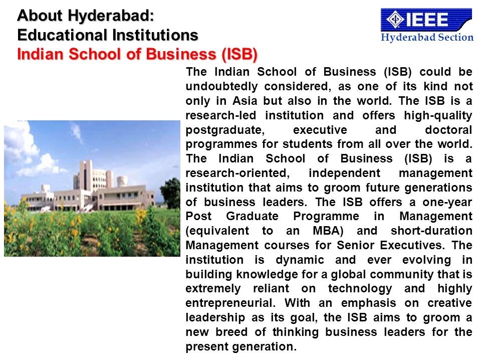 About Hyderabad: Educational Institutions Indian School of Business (ISB)