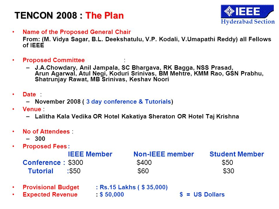 TENCON 2008 : The Plan Conference : $300 $400 $50