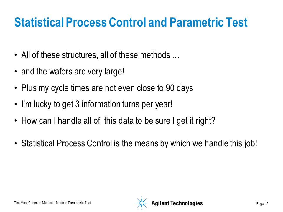 Statistical Process Control and Parametric Test
