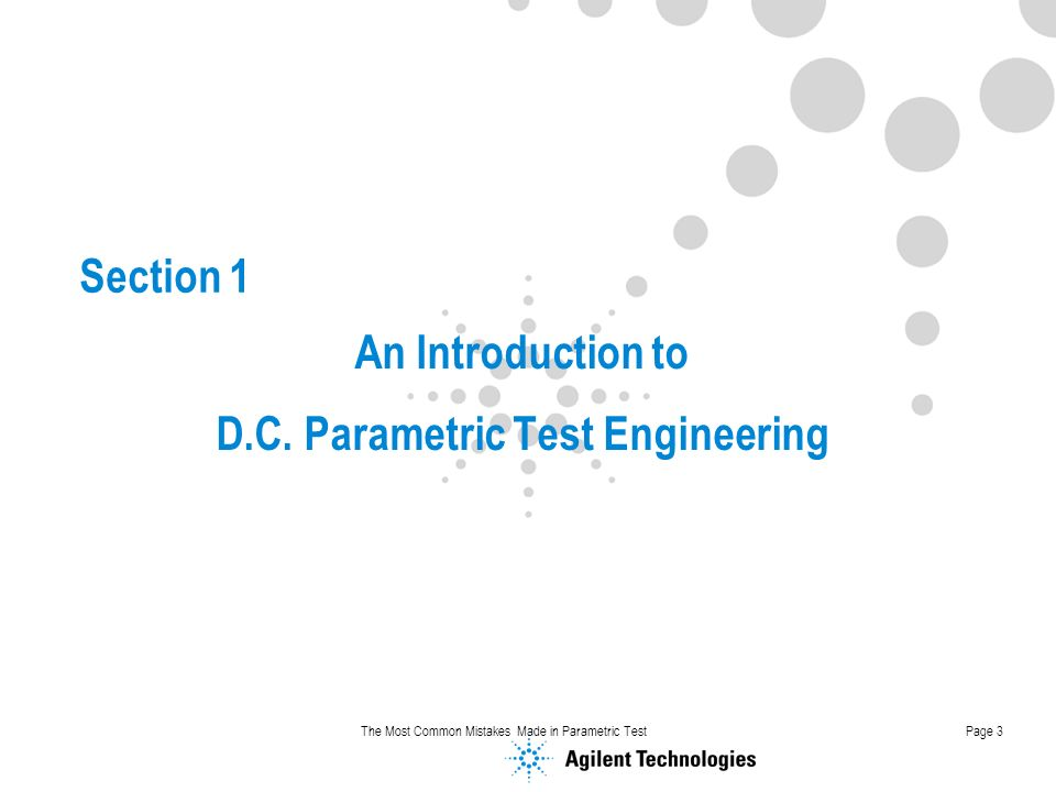 An Introduction to D.C. Parametric Test Engineering