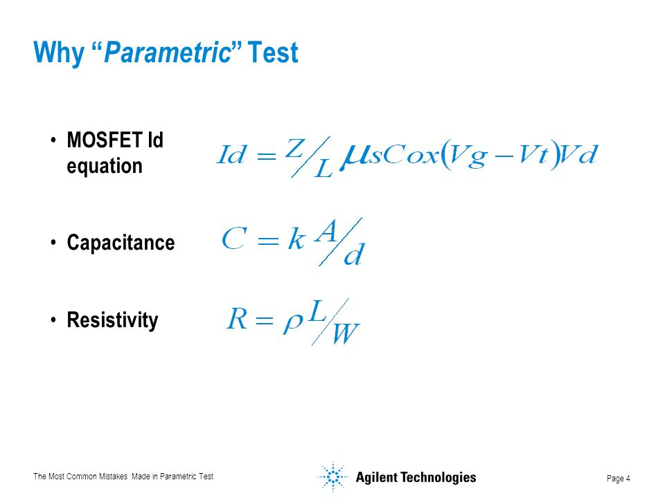 Why Parametric Test MOSFET Id equation Capacitance Resistivity