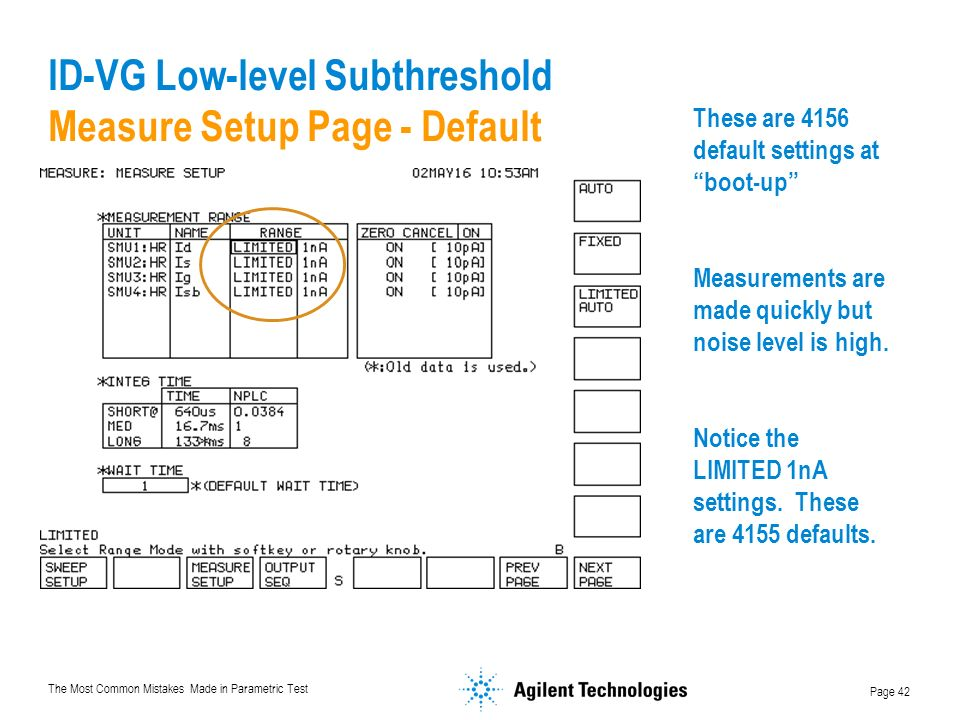 ID-VG Low-level Subthreshold Measure Setup Page - Default