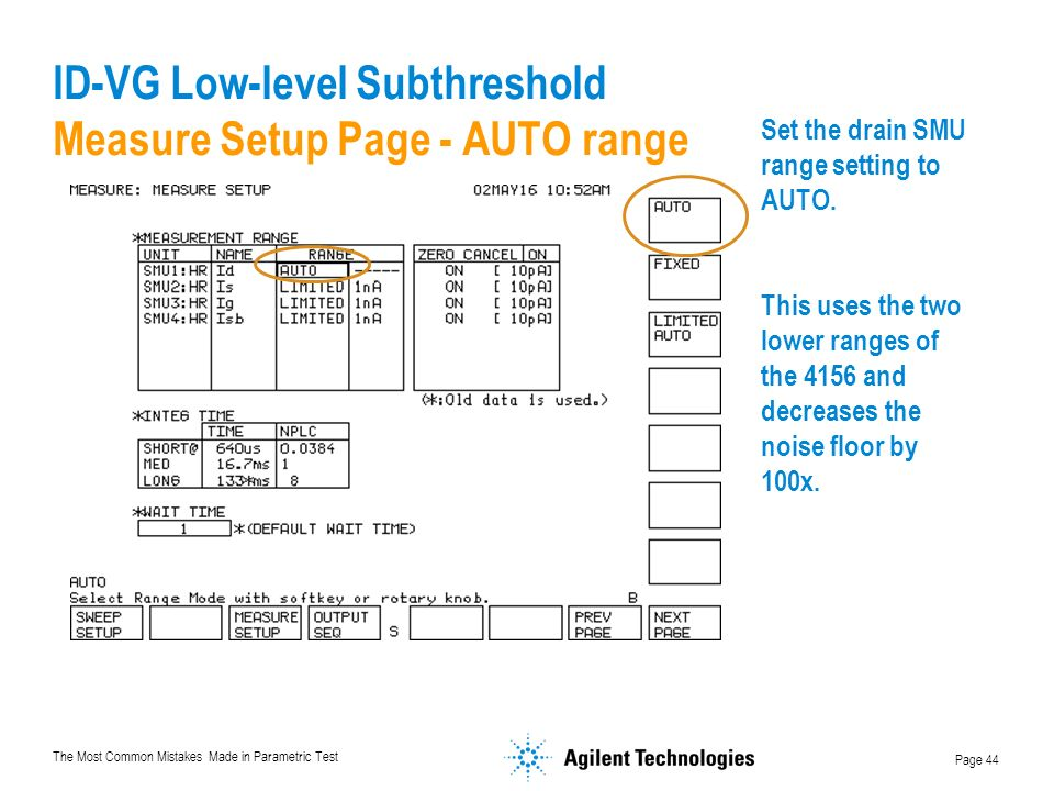 ID-VG Low-level Subthreshold Measure Setup Page - AUTO range