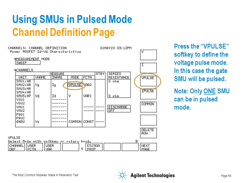Using SMUs in Pulsed Mode Channel Definition Page