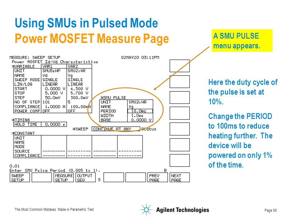 Using SMUs in Pulsed Mode Power MOSFET Measure Page