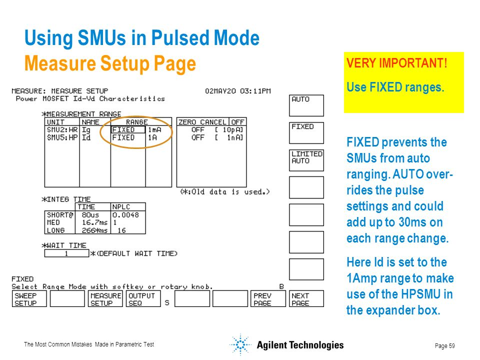Using SMUs in Pulsed Mode Measure Setup Page