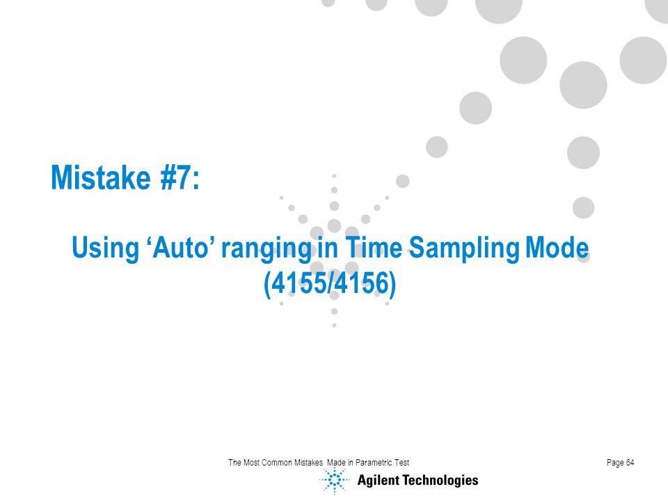 Using 'Auto' ranging in Time Sampling Mode (4155/4156)