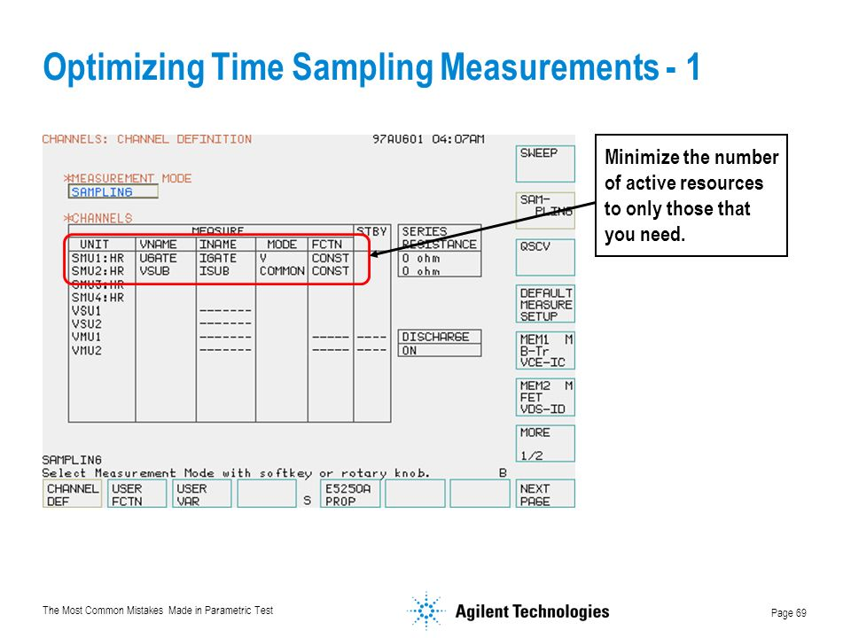 Optimizing Time Sampling Measurements - 1