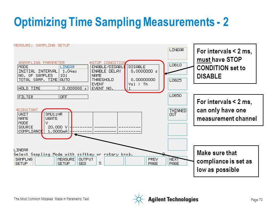 Optimizing Time Sampling Measurements - 2