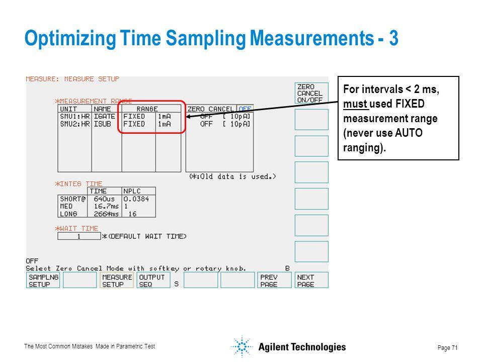 Optimizing Time Sampling Measurements - 3