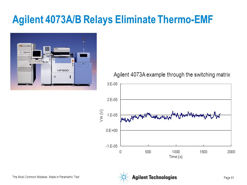 Agilent 4073A/B Relays Eliminate Thermo-EMF