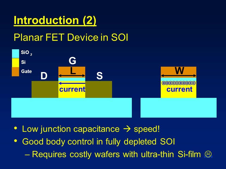 Introduction (2) Planar FET Device in SOI G L W D S