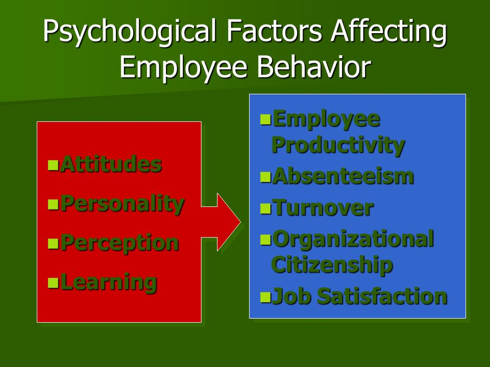 factors affecting individual behavior at work 1 biological, behavioral, and social factors affecting health in the early years of scientific medicine, most clinicians and researchers thought only in terms of single causes: specific agents that cause specific disease.