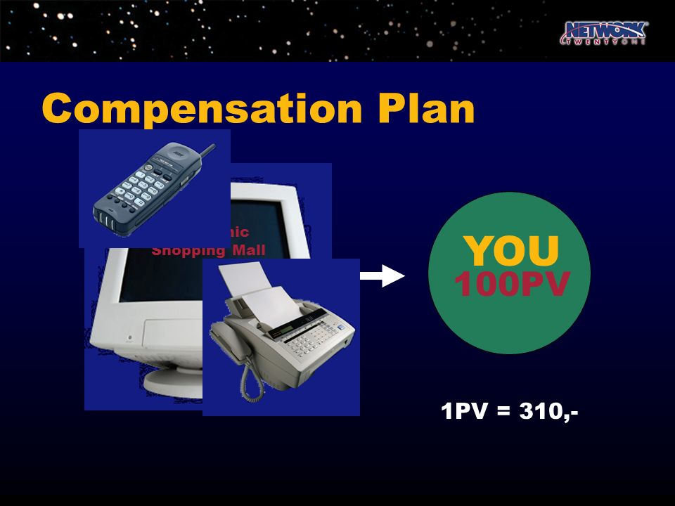 Compensation Plan Electronic Shopping Mall YOU 100PV 1PV = 310,-
