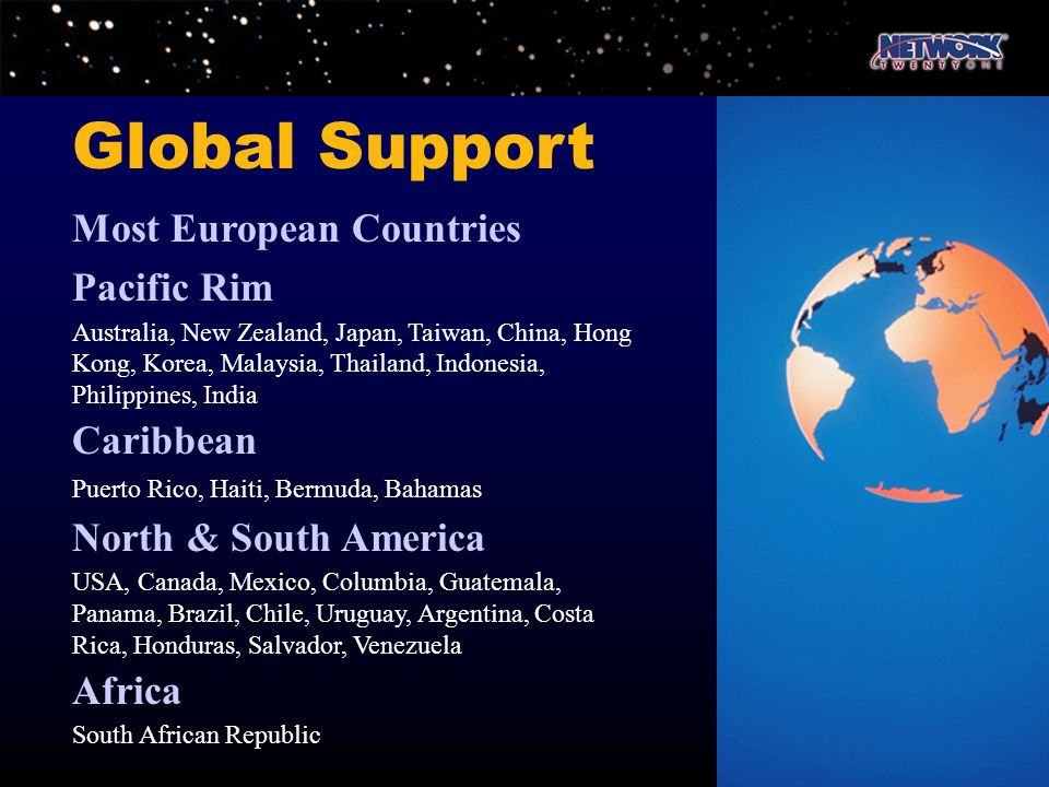 Global Support Most European Countries Pacific Rim Caribbean