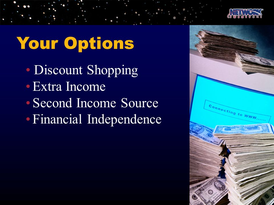 Your Options • Discount Shopping • Extra Income • Second Income Source