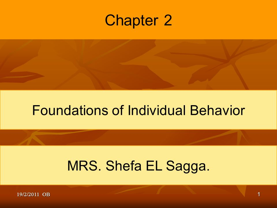 foundations of individual behavior Diversity: individual behavior impact individual behavior is the pattern of behavior, thought, and emotion, unique to an individual, and the ways he or she interact to help or hinder the adjustment of a person to other people and situations (the columbia encyclopedia, 2001.