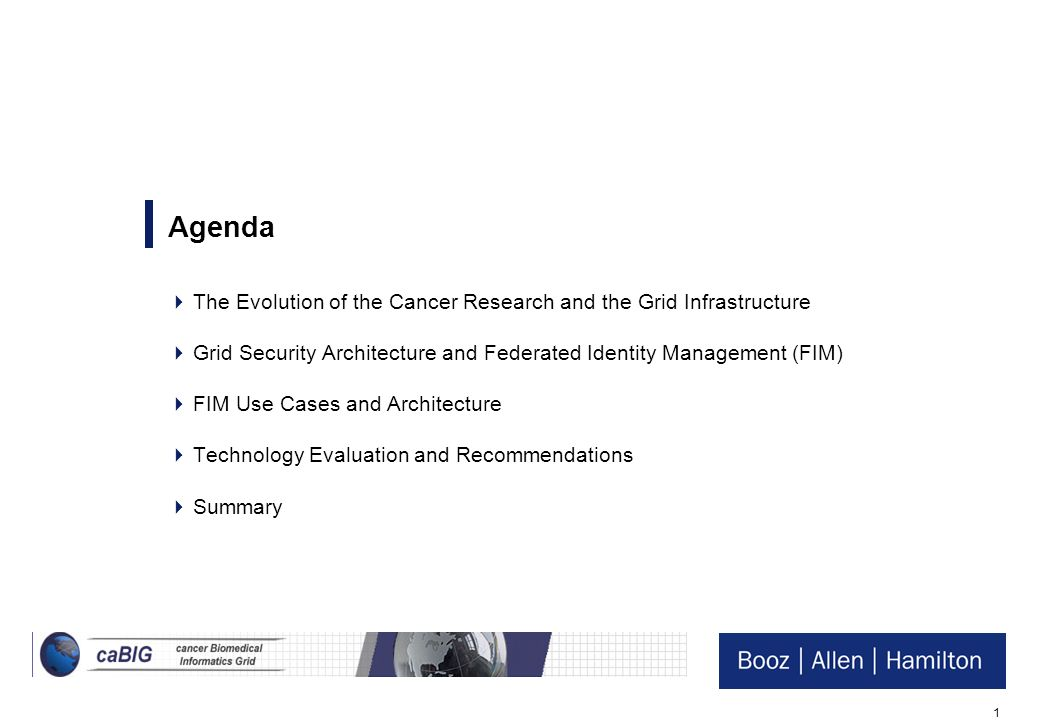 Agenda The Evolution of the Cancer Research and the Grid Infrastructure. Grid Security Architecture and Federated Identity Management (FIM)