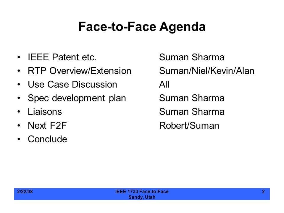 Face-to-Face Agenda IEEE Patent etc. Suman Sharma