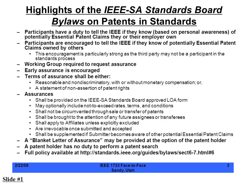 Highlights of the IEEE-SA Standards Board Bylaws on Patents in Standards
