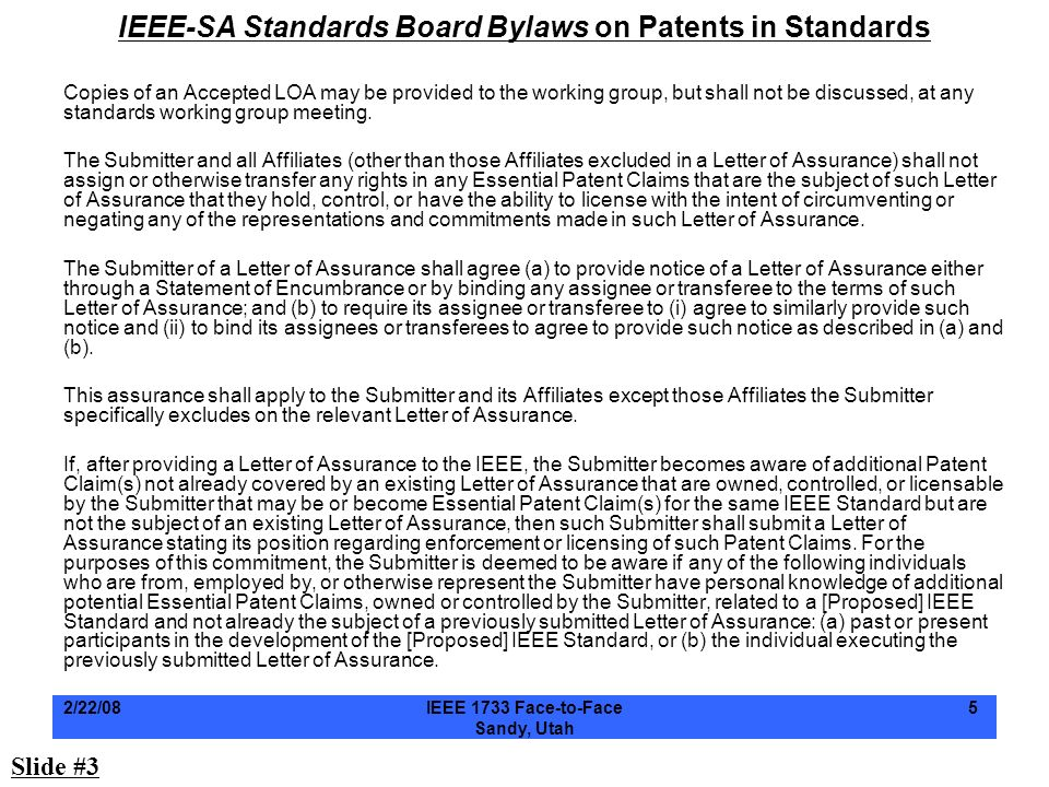 IEEE-SA Standards Board Bylaws on Patents in Standards