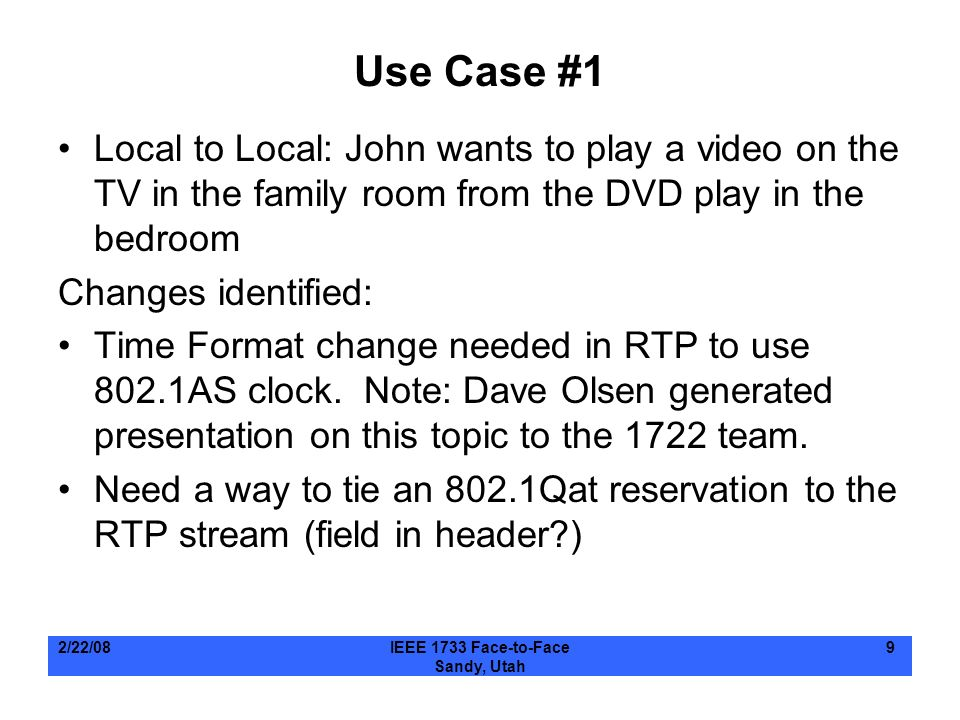 Use Case #1 Local to Local: John wants to play a video on the TV in the family room from the DVD play in the bedroom.