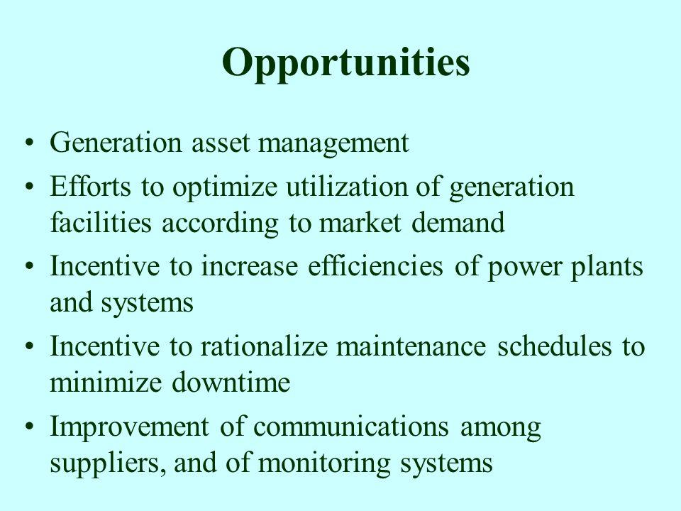 Opportunities Generation asset management