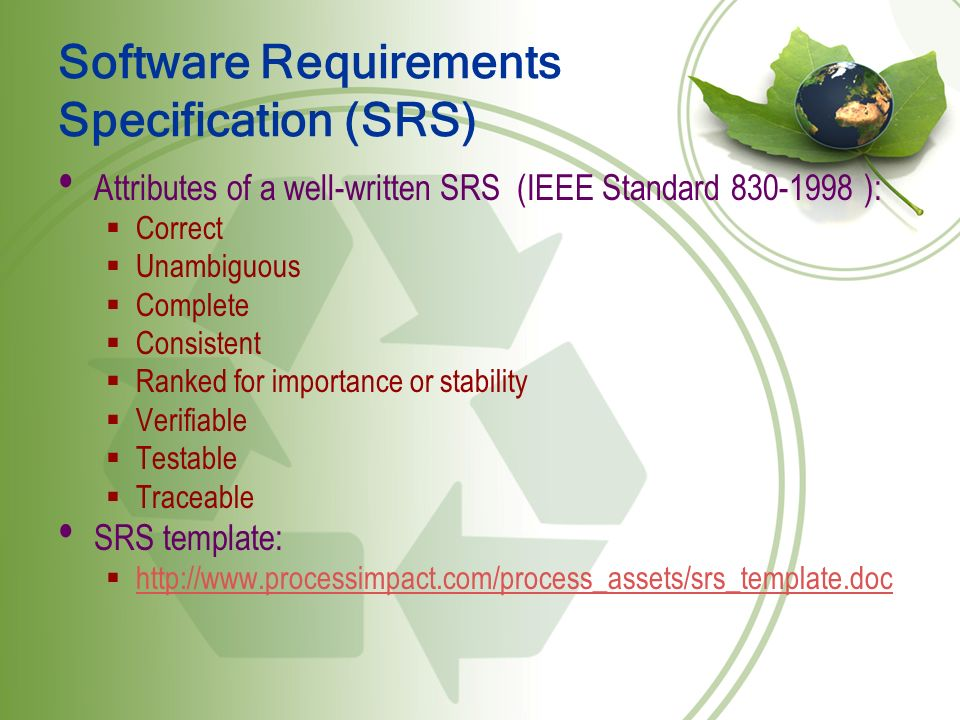 software requirements specification srs Software requirements specification for version [note: the following template is provided for use with the rational unified process.