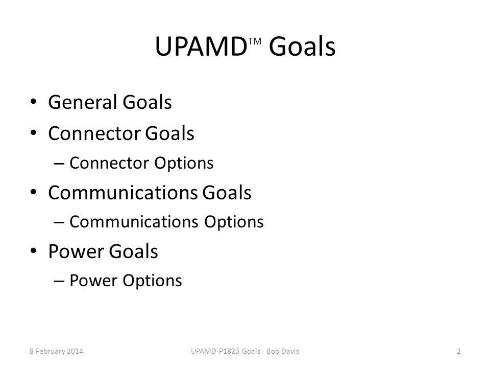 UPAMD-P1823 Goals - Bob Davis