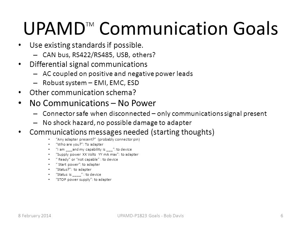 UPAMDTM Communication Goals